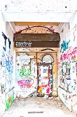Urban Wall And Door Full Of Graffiti In Berlin, Germany