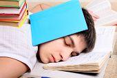 Teenager Sleeps On The Books