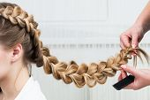 picture of braids  - weave braid girl in a hair salon - JPG