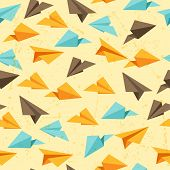 Seamless pattern of paper planes in flat design style.