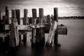 Old Wooden Abandoned Pier Structure Ruins