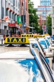 row of Taxi cabs waiting in Berlin downtown