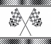 stock photo of dragster  - vector racing background and crossed checkered flags - JPG