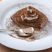 Chocolate Mousse Portion  In White Plate