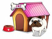 Illustration of a dog outside the doghouse on a white background