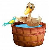 Illustration of a duck and a bird at the bathtub with water on a white background