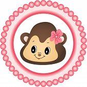Monkey Girl Round Label