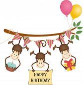 Cute three monkeys happy birthday