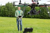 Young technician flying UAV photography helicopter with remote control in park