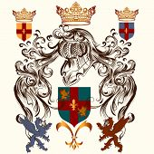 Heraldic Design With Coat Of Arms And Shield