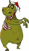 Cartoon, Funny Hippo Zombie In Santa Hat.