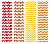 Tile chevron vector pattern set with brown, yellow and red zig zag on white background