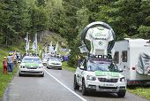 The Skoda Convoy During Le Tour De France 2014