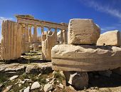 stock photo of akropolis  - Parthenon temple on the Acropolis of Athens - JPG