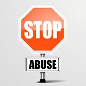 detailed illustration of a red stop Abuse sign, eps10 vector