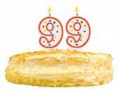 Birthday Cake Candles Number Ninety Nine Isolated