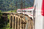 train rides through the picturesque bridge