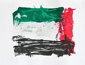 An abstract paintwork with UAE flag colors.