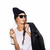 Hipster Girl In Sunglasses Smoking Cigar