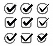 pic of confirmation  - vector black illustration of confirm icon on white - JPG