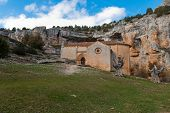 picture of templar  - templar romanesque chapel of San Bartolome in the Lobos river canyon Spain - JPG