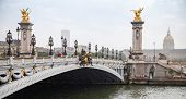 Pont Alexandre Iii (alexander Iii Bridge) In A Rainy Summer Day