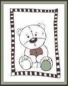 Scrapbook Card With Cute Astonished Teddy Bear