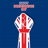 Flag of United Kingdom in hand , happy Independence Day design vector
