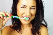 Woman Who Is Brushed Teeth Smiling