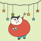 Merry Christmas celebration with bulky cartoon man dancing and holding burger on stars decorated background.
