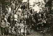 JELENIA GORA, POLAND, CIRCA FORTIES: Vintage photo of group of people outdoor