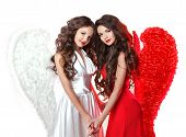 Glamorous Fashion Brunette Angel Girl With Angel's Wings. Valentine Day Women.  Isolated On White Ba