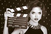 Retro Casting Tests, Woman Holding Cinema Clap. Super Star Model Shot. Vintage Photo