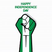 Flag of Nigeria in hand , happy Independence Day design vector