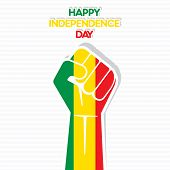 Flag of Mali in hand , happy Independence Day design vector