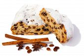picture of christmas spices  - Traditional Christmas Stollen and spices on white background - JPG