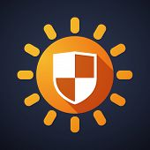 Sun Icon With A Shield