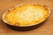 Cottage pie freshly baked in the oven