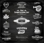 Set of Thanksgiving Day Labels. Holiday Designs. Vintage Paper Background. Chalkboard Style.