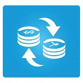 picture of bartering  - money exchange symbol in blue square button vector - JPG
