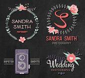 Set of retro photo logos. Wedding photography collection. Brand