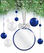 Christmas Background With Price Tag, Balls And Spruce