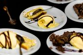 Delicious ice cream with chocolate cake