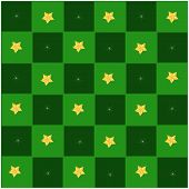 Golden Stars in Green and Dark Green Chess Board