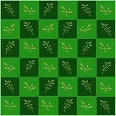 Mistletoe in Green and Dark Green Chess Board