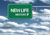 Creative sign with the message - New Life Next Exit