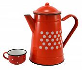 Red Coffee Pot With Cup