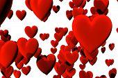 Many Red Velvet Hearts Isolated Over White