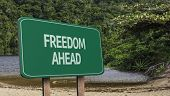 Amazing sign with the message - Freedom Ahead