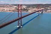 The 25 De Abril Bridge Over River Tejo